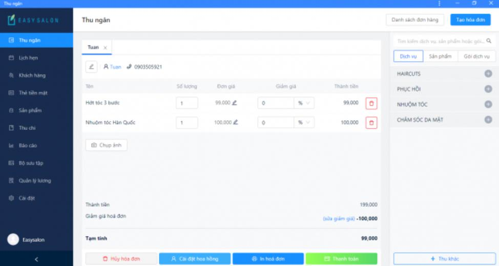 Phần mềm đặt lịch hẹn spa Easysalon